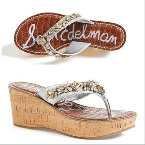 Sam Edelman Silver Crystal Cork Wedge Shoe Randi